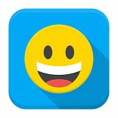 Laughing Yellow Smile Flat App Icon With Long Shadow