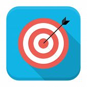Target With Arrow Flat App Icon With Long Shadow