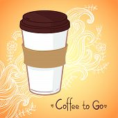 Hand Drawn Vector Illustration - Coffee To Go. Background With Waves And Flowers