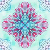 Hand Drawn Ethnic Circular Pink And Blue Ornament. Eps10