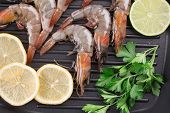 Raw shrimps on pan