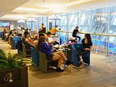 BANGKOK, THAILAND - NOV 07: Bangkok Airways lounge interior on November 07, 2014. Bangkok Airways is a regional airline based in Bangkok. Its main base is Suvarnabhumi Airport, Bangkok