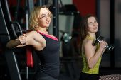 Two Girls Do Weight Training In Gym