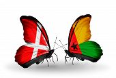 Two Butterflies With Flags On Wings As Symbol Of Relations Denmark And Guinea Bissau