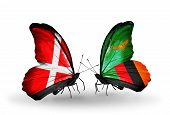 Two Butterflies With Flags On Wings As Symbol Of Relations Denmark And Zambia