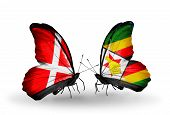 Two Butterflies With Flags On Wings As Symbol Of Relations Denmark And Zimbabwe