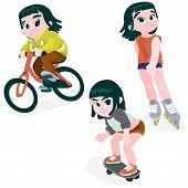 Little Girl On A Bike, Rollerblading, Skateboarding