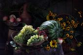 Water-melon, Grapes, Apple, Red Currant And Bouquet From Yellow Camomiles