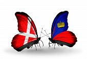 Two Butterflies With Flags On Wings As Symbol Of Relations Denmark And  Liechtenstein