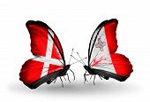 Two Butterflies With Flags On Wings As Symbol Of Relations Denmark And Malta
