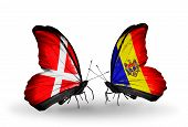Two Butterflies With Flags On Wings As Symbol Of Relations Denmark And Moldova