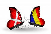 Two Butterflies With Flags On Wings As Symbol Of Relations Denmark And Chad, Romania