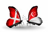 Two Butterflies With Flags On Wings As Symbol Of Relations Denmark And Singapore