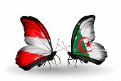 Two Butterflies With Flags On Wings As Symbol Of Relations Austria And Algeria