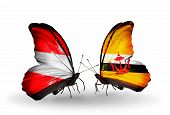 Two Butterflies With Flags On Wings As Symbol Of Relations Austria And Brunei