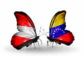 Two Butterflies With Flags On Wings As Symbol Of Relations Austria And Venezuela