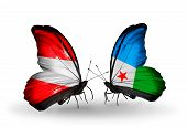 Two Butterflies With Flags On Wings As Symbol Of Relations Austria And Djibouti