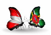 Two Butterflies With Flags On Wings As Symbol Of Relations Austria And Dominica