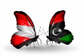 Two Butterflies With Flags On Wings As Symbol Of Relations Austria And Libya