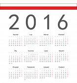 Simple Polish 2016 Year Vector Calendar