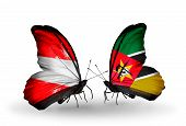 Two Butterflies With Flags On Wings As Symbol Of Relations Austria And Mozambique