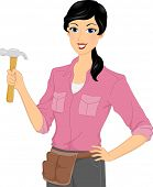 Illustration of a Woman Wearing a Utility Belt Holding a Hammer