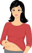 Illustration of a Woman Squeezing the Flab on Her Belly