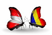 Two Butterflies With Flags On Wings As Symbol Of Relations Austria And Chad, Romania