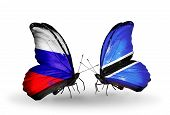 Two Butterflies With Flags On Wings As Symbol Of Relations Russia And Botswana