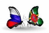 Two Butterflies With Flags On Wings As Symbol Of Relations Russia And Dominica