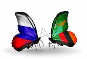 Two Butterflies With Flags On Wings As Symbol Of Relations Russia And Zambia