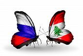 Two Butterflies With Flags On Wings As Symbol Of Relations Russia And Lebanon