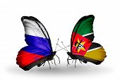 Two Butterflies With Flags On Wings As Symbol Of Relations Russia And Mozambique