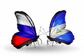 Two Butterflies With Flags On Wings As Symbol Of Relations Russia And Nicaragua