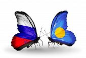 Two Butterflies With Flags On Wings As Symbol Of Relations Russia And Palau