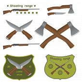 set of different kinds of weapons