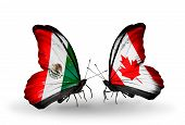 Two Butterflies With Flags On Wings As Symbol Of Relations Mexico And Canada