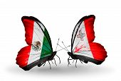 Two Butterflies With Flags On Wings As Symbol Of Relations Mexico And  Malta