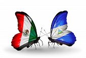 Two Butterflies With Flags On Wings As Symbol Of Relations Mexico And  Nicaragua
