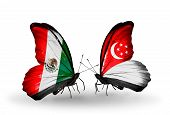 Two Butterflies With Flags On Wings As Symbol Of Relations Mexico And Singapore