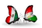 Two Butterflies With Flags On Wings As Symbol Of Relations Mexico And Tajikistan