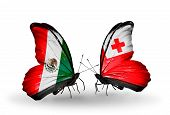 Two Butterflies With Flags On Wings As Symbol Of Relations Mexico And Tonga