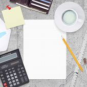 Business concept with office and business work items