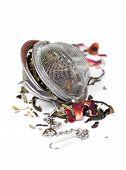 Green Herbal Tea With Dried Flowers In Tea Strainer