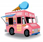 stock photo of food truck  - Colorful and Playful Ice Cream Truck with Ice Cream cone on top - JPG