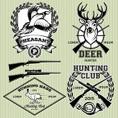 stock photo of deer horn  - set of vector emblems with a deer hare pheasant for hunting - JPG