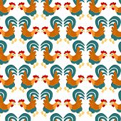 stock photo of fighting-rooster  - Seamless pattern with roosters - JPG