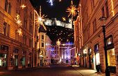 Decorated street in Ljubljana's old city centre for Christmas and New Years holiday, with Ljubljana'