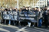 Lyon, France - 11 January 2015: Anti Terrorism Protest