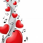 stock photo of serenade  - Romantic background with hearts and notes - JPG